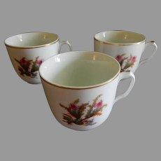 "Set of 3 - 1880's Charles Haviland & Co. Limoges ""Moss Rose"" Pattern Cups (No Saucers)"