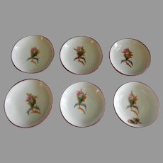"""Set of 6 - 1880's Charles Haviland & Co. Limoges """"Moss Rose"""" Pattern Individual Butter Pats"""