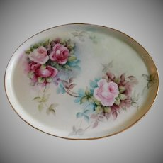 T&V Limoges Hand Painted Oval Dresser Tray w/Rose Blossoms Motif