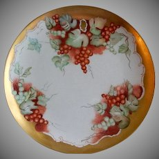 Home Studio Hand Painted Charger Plate w/Currants Motif - Artist Signed