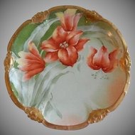 Coronet Limoges France Factory Decorated Charger Plate w/ Orange Tiger Lilies Motif - Signed Brisson