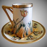 Jean Pouyat (JPL) Hand Painted Art Deco Chocolate Cup & Saucer w/Tulip Blossoms Motif