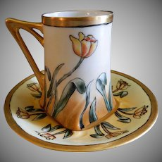 Jean Pouyat (JPL) Hand Painted Art Deco Chocolate Cup & Saucer w/Tulip Blossoms Motif