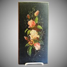 Victorian Era Primitive Floral Oil Painting on Wood Panel