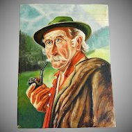 Primitive Oil Painting Portrait of Bavarian Gentleman on Wood Panel - Signed Seiffert