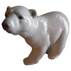 "Lladro ""Attentive Polar Bear"" Porcelain Sculpture #1207"
