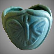 """Van Briggle """"Luna Moth/Butterfly"""" Vase - Turquoise Ming Glaze"""