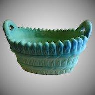 """Van Briggle """"Handled Laundry Basket - Turquoise Ming Glaze"""