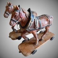 German/Austria Composition Team of Horses on Platform Pull Toy - 1890's