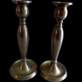 Pair of Bradley & Hubbard Bronze Baluster Arts & Crafts Candlesticks