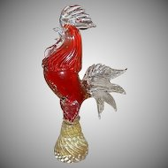 "Murano Art Glass Mid-Century ""Rooster"" Glass Sculpture"