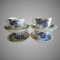 "Set of 4 Johnson Bros. Blue Transfer ""Paris"" Pattern Cups & Saucers"