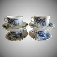 "Set of 4 Johnson Bros. Blue Transfer ""Paris"" Pattern Cups & Saucers"