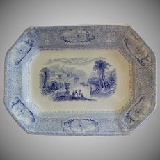 "John Wedge Wood Blue Transfer Ironstone ""Columbia"" Pattern Platter"