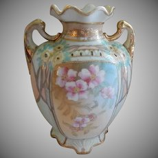 Nippon Hand Painted Vase Decorated with Pink and Yellow Floral Blossoms