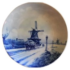 Rosenthal Blue & White Delft Plate w/Dutch Canal Scene
