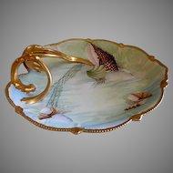 Hand Painted Porcelain Shallow Serving Dish w/Ocean Seascape Motif