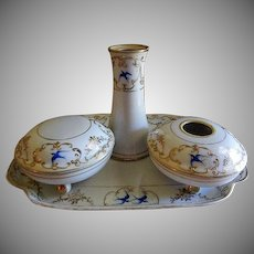 "Nippon Hand Painted ""Blue Birds & Encrusted Gold"" Motif 6-Piece Dresser/Vanity Set"