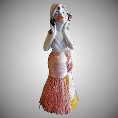 "German Porcelain ""Flapper"" Half Doll Vanity Clothes Brush"