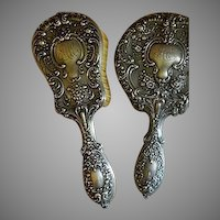 "Gorham Sterling Silver ""Buttercup"" Pattern Mirror & Brush Dresser Set"