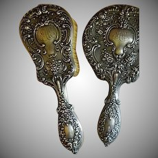 "Gorham Sterling Silver ""Buttercup"" Pattern Mirror & Brush Vanity Set"