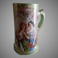 """Vienna Austria """"Portrait"""" Tankard Mug w/Two Gorgeous Ladies"""