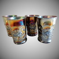 "Northwood Purple/Amethyst Carnival Glass ""Oriental Poppy"" Pattern Tumblers - Set of 4"