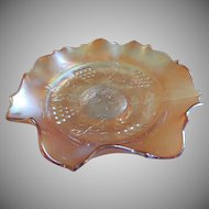 "Fenton Marigold Carnival Glass ""Grape & Cable"" Pattern Ruffled Bowl"