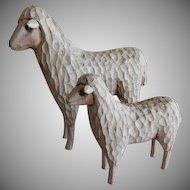 "Vintage ""Folk Art"" Hand Carved Pair of Sheep Figures"