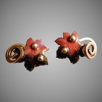 """Matisse"" Copper & Enameled Oak Leaf Clip Earrings"