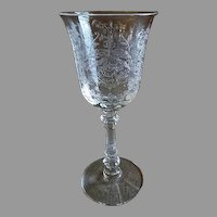 "Heisey Glass ""Orchid"" Pattern Water Goblet - Stem #5025, Etch #507 - Set of 6"