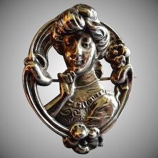 """Sterling Silver """"Art Nouveau"""" Repousse Brooch of a Gibson Girl Image"""