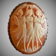 "Victorian Era Shell Cameo ""Three Graces"" Brooch/Pendant"
