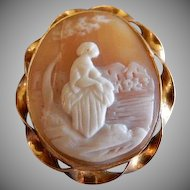 Victorian Motif Shell Cameo Brooch - Lady Seated in a Garden Motif