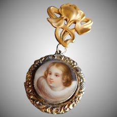 "Hand Painted Child Portrait w/Hair ""Mourning"" Locket and Gold Champenois & Co ""Iris"" Watch Lapel Pin"