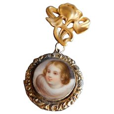 """Hand Painted Child Portrait w/Hair """"Mourning"""" Locket and Gold Champenois & Co """"Iris"""" Watch Lapel Pin"""