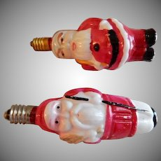 (2) Santa Claus Milk Glass Figural Christmas Light Bulbs