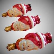 (3) Santa Claus Milk Glass Figural Christmas Light Bulbs