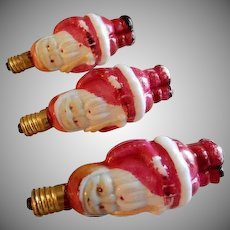 (3) Santa Claus Milk Glass Figural Christmas Light Bulbs