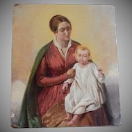 Religious Oil Painting of a Mother and Young Child, circa 1880