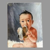 "Oil Painting Baby Portrait of 'Little Glee"" by Illinois Sculptor & Artist Lily Topol"