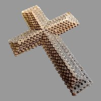 Vintage Paper Folk Art or Tramp Art Miniature Cross