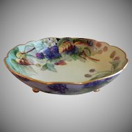 A. Klingenberg & C. Dwenger Porcelain Hand Painted Footed Bowl w/ Raspberry Motif