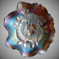 "Fenton Blue Carnival Glass ""Acorn"" Pattern Ruffled Bowl"