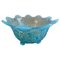 """Northwood Blue Opalescent """"Pearl Flowers"""" Pattern Footed Candy/Nut Bowl"""