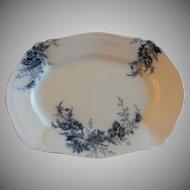 """Johnson Bros. Blue Transfer """"Paris"""" Pattern Medium Platter"""