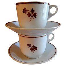 Alfred Meakin Ironstone Tea Leaf (Pair) Cups & Saucers