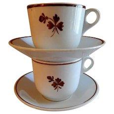Alfred Meakin Ironstone Tea Leaf (Pair) Cups & Saucers