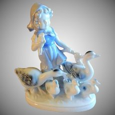 Gerold Porcelain Figurine - Young Girl Walking with Geese & Goslings