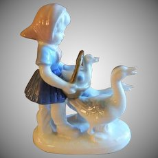 Gerold Porcelain Figurine - Young Girl Carrying Two Goslings in a Basket With Adult Geese Leading